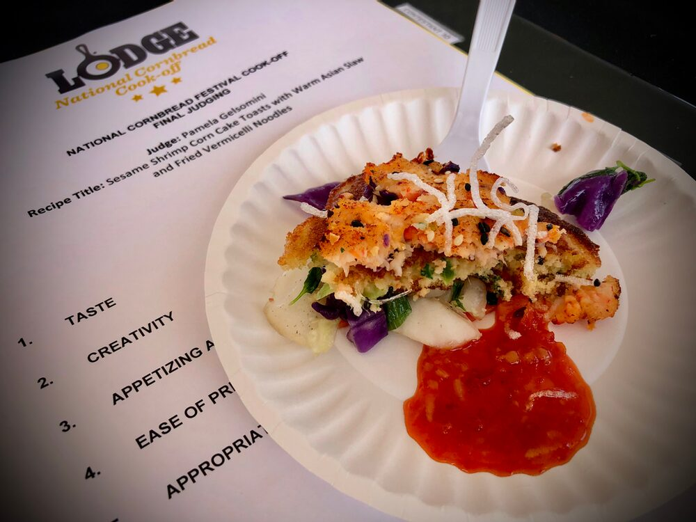 Hello, From The Other Side... Of The Judges Table! Omg - That Sauce!!!Sesame Shrimp Corn Cake Toasts With Warm Asian Slaw And Fried Vermicelli Noodles