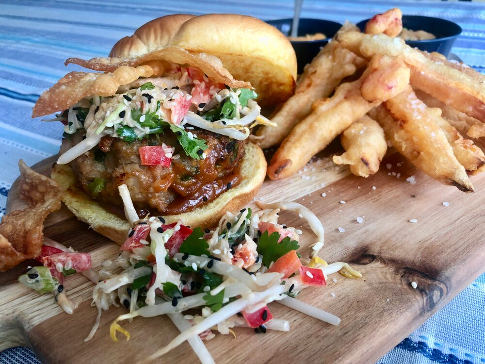 Beyond Burger And Fries... Wonton Burgers With Magic Peanut Sauce, Spicy Asian Slaw, Fried Wonton Crunch And Tempura Sweet Potato And Red Pepper Fries With Two Dipping Sauces