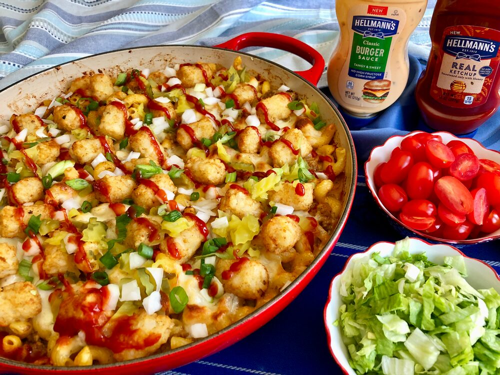 Beyond Burger And Fries... Cheeseburger Pasta Casserole With Tots!