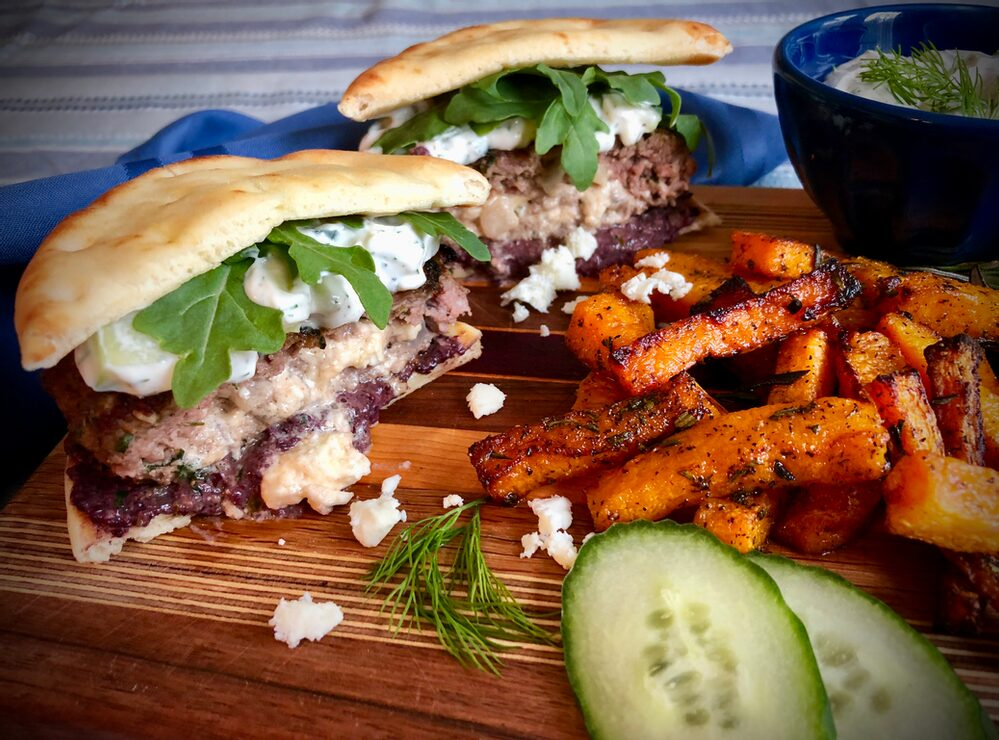 Beyond Burger And Fries... Naan-Traditional Feta-Stuffed Lamb Burgers With Two Sauces And Rosemary Laced Butternut Squash Fries