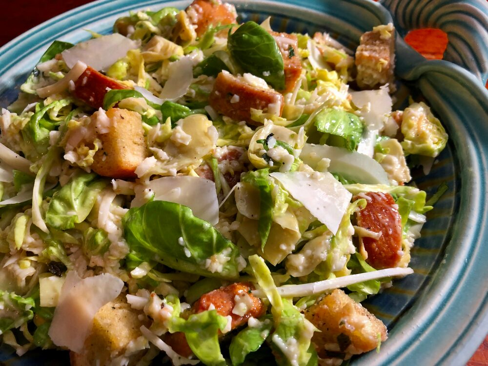 Gelsomini Extravaganza 2019!! Let'S Eat!! Shaved Brussel Sprout Caesar Salad With Artichoke Hearts And Homemade Croutons