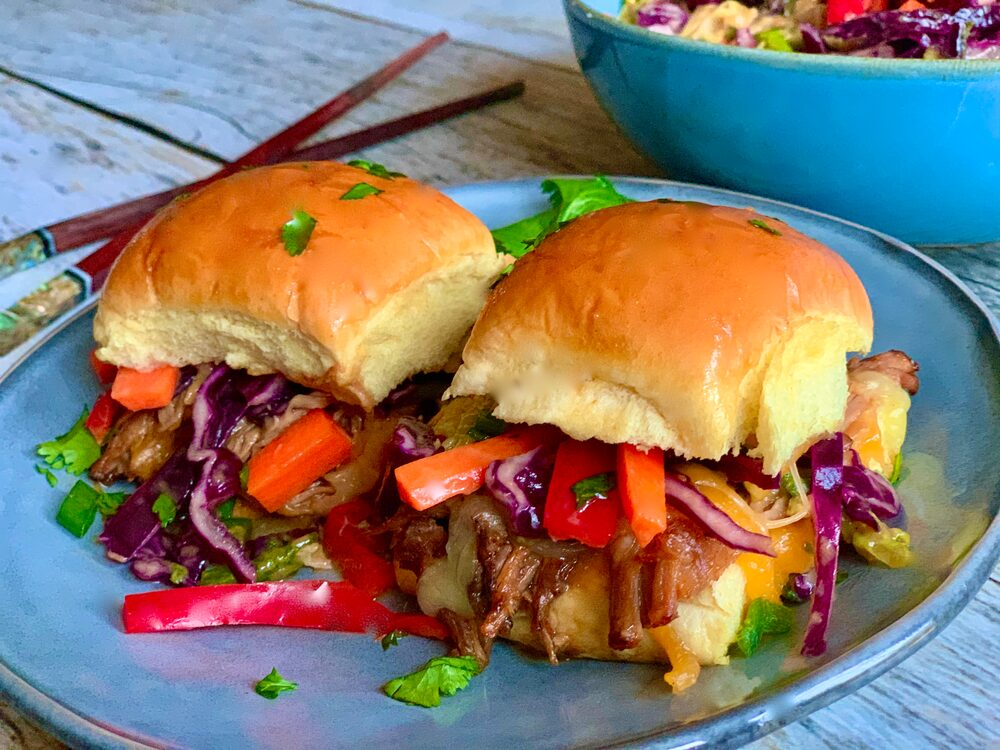 A Perfect Plethora Of Pulled Pork Pleasers Asian Braised Pulled Pork Sliders With Asian Slaw With Peanut Dressing