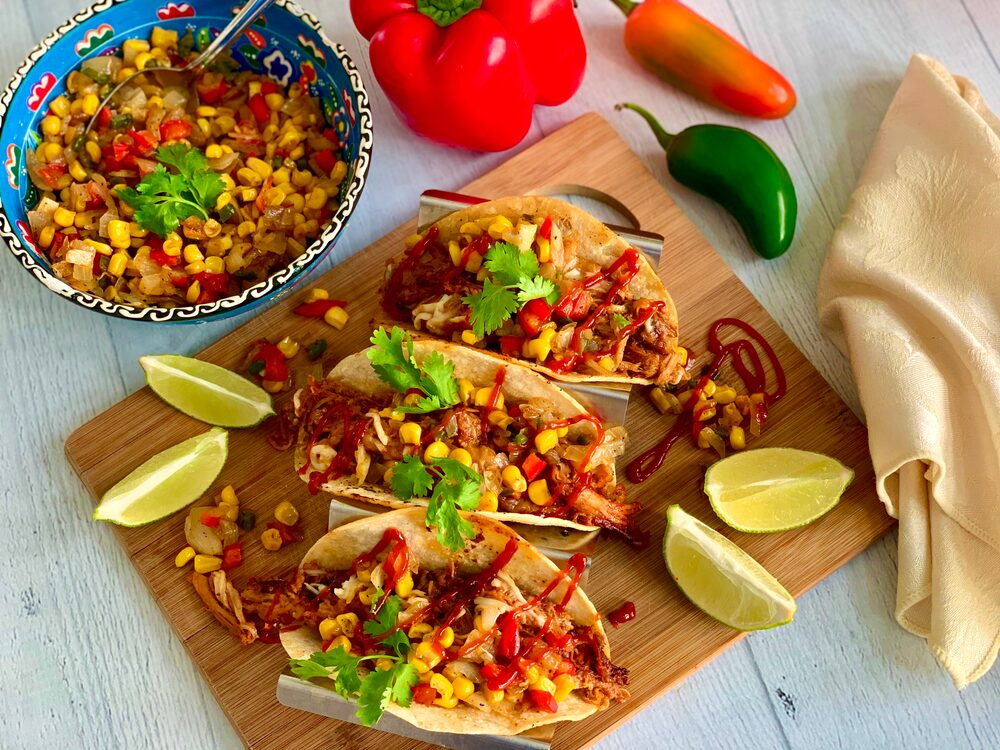 A Perfect Plethora Of Pulled Pork Pleasers Bbq Pulled Pork Tacos With Spicy Corn And Pepper Relish