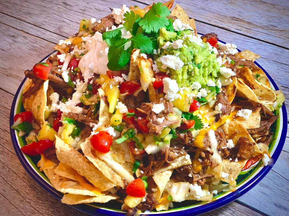 A Perfect Plethora Of Pulled Pork Pleasers Asian Pulled Pork Nachos With Pineapple Salsa