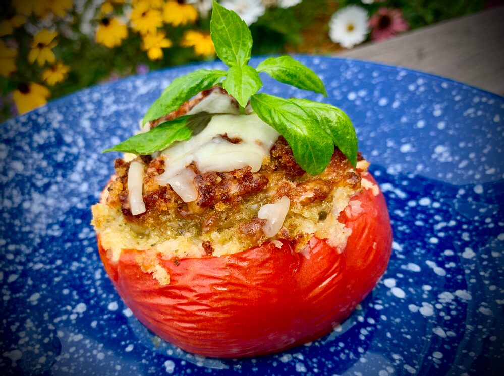 Pesto Palooza! Stuffed Tomatoes