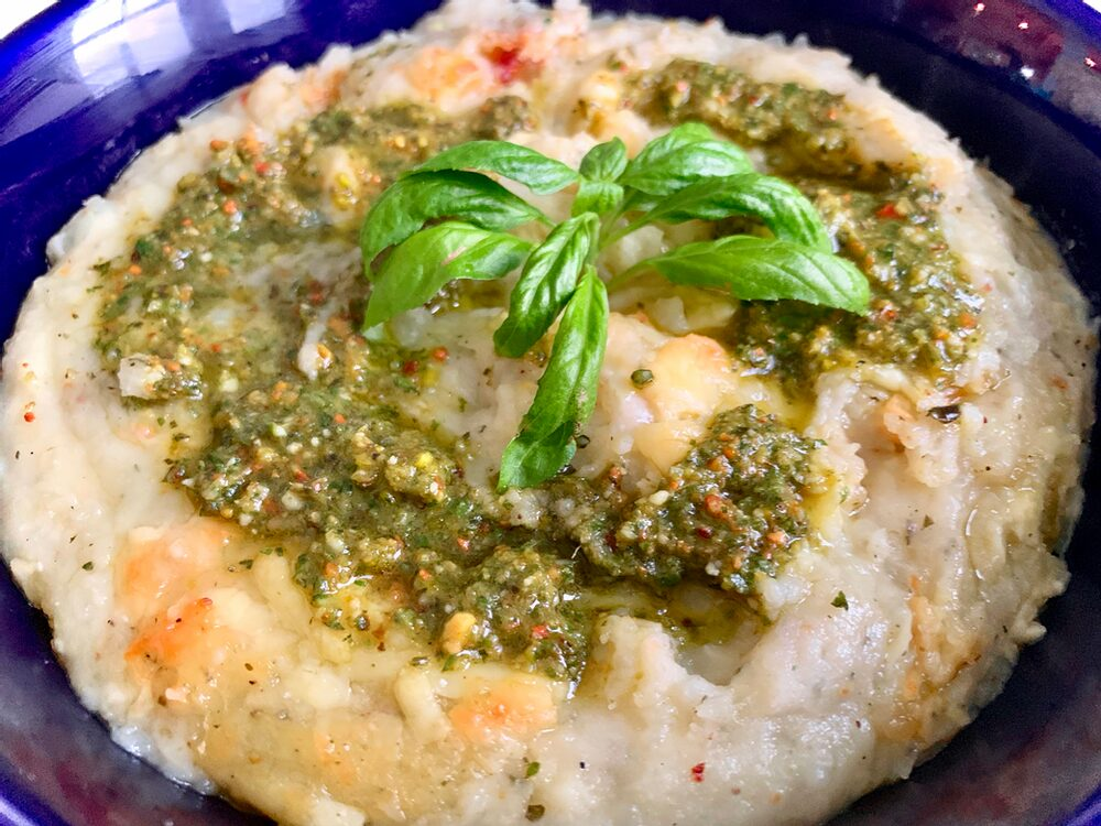 Pesto Palooza! Cheesy Pesto Mashed Potatoes