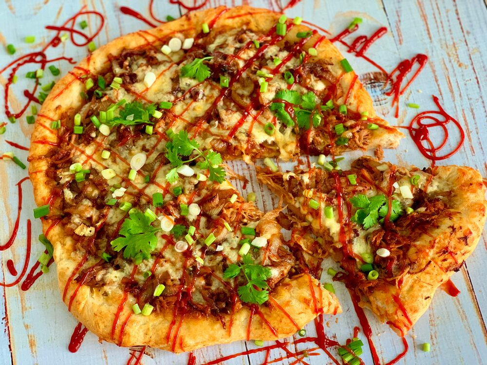 A Perfect Plethora Of Pulled Pork Pleasers Bbq Pulled Pork Pizza With Caramelized Onions And Pepper Jack Cheese