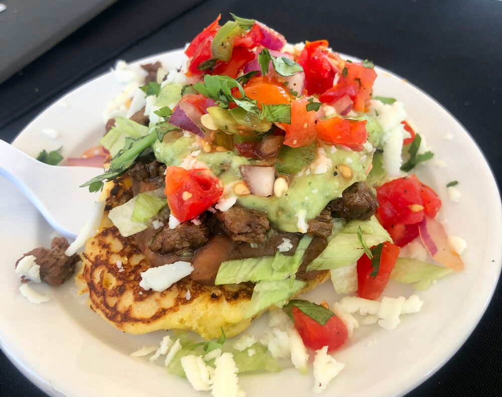 Hello, From The Other Side... Of The Judges Table! Mexican Corn Cakes With Charred Corn, Carne Asada, Refried Beans, And Guasacaca (Avocado) Sauce