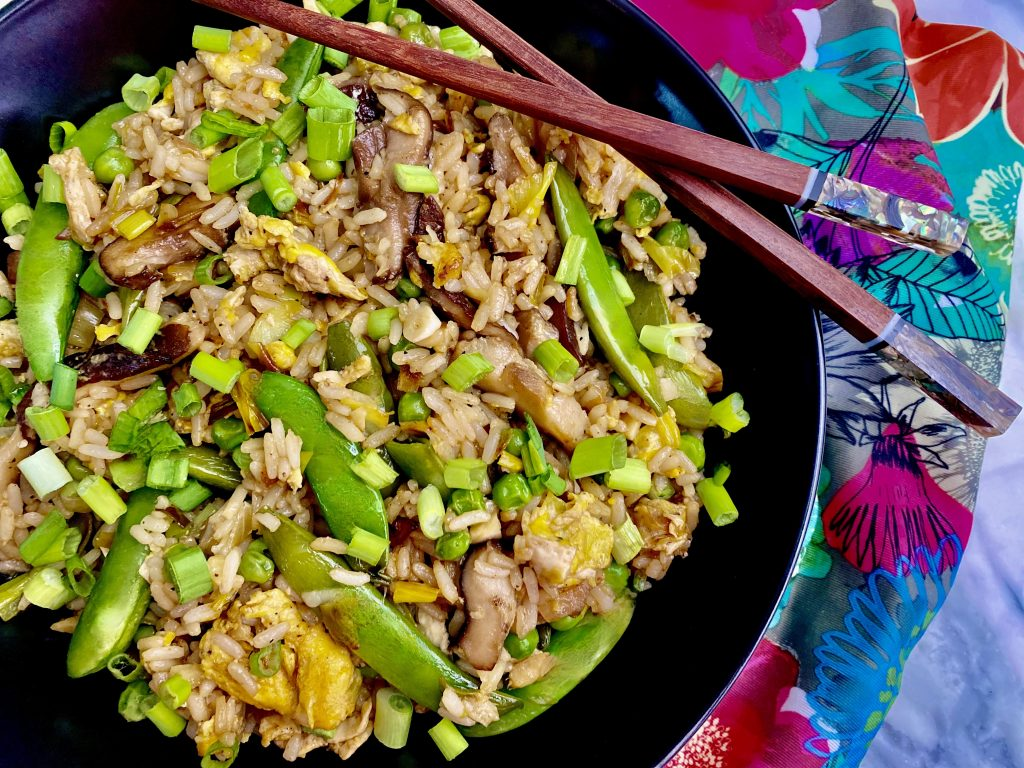 Leek and Mushroom Fried Rice with Pea Pods