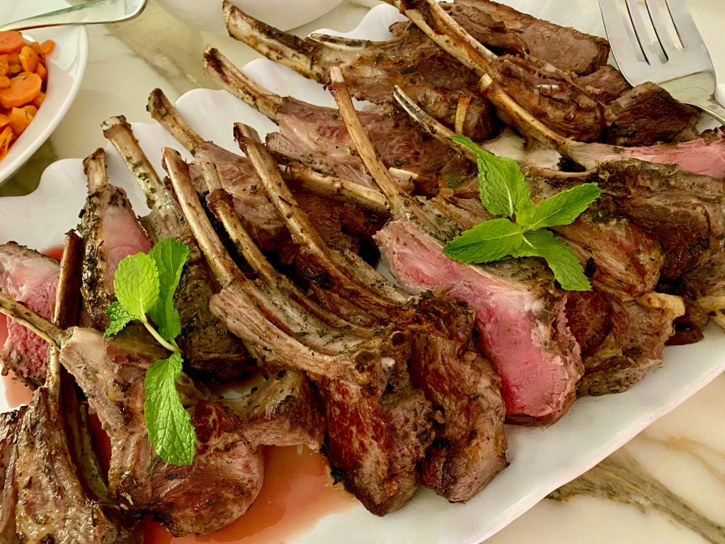 GARLIC, ROSEMARY, AND MINT CRUSTED RACK OF LAMB
