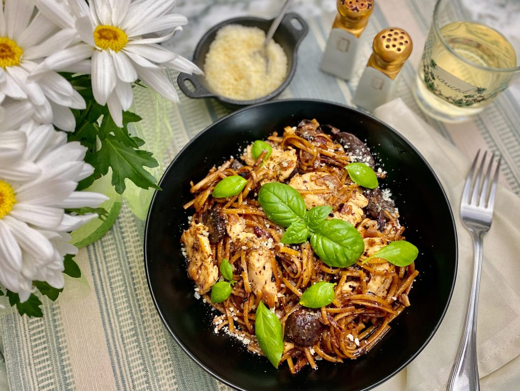 Toasted Linguini with Chicken and Mushrooms