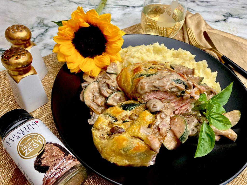 Salmon Wellington With Mushroom And Zucchini Truffle Cream Sauce