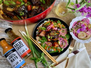 Braised Korean Short Ribs With Pickled Onion, Cucumber, And Jalapeno Topper