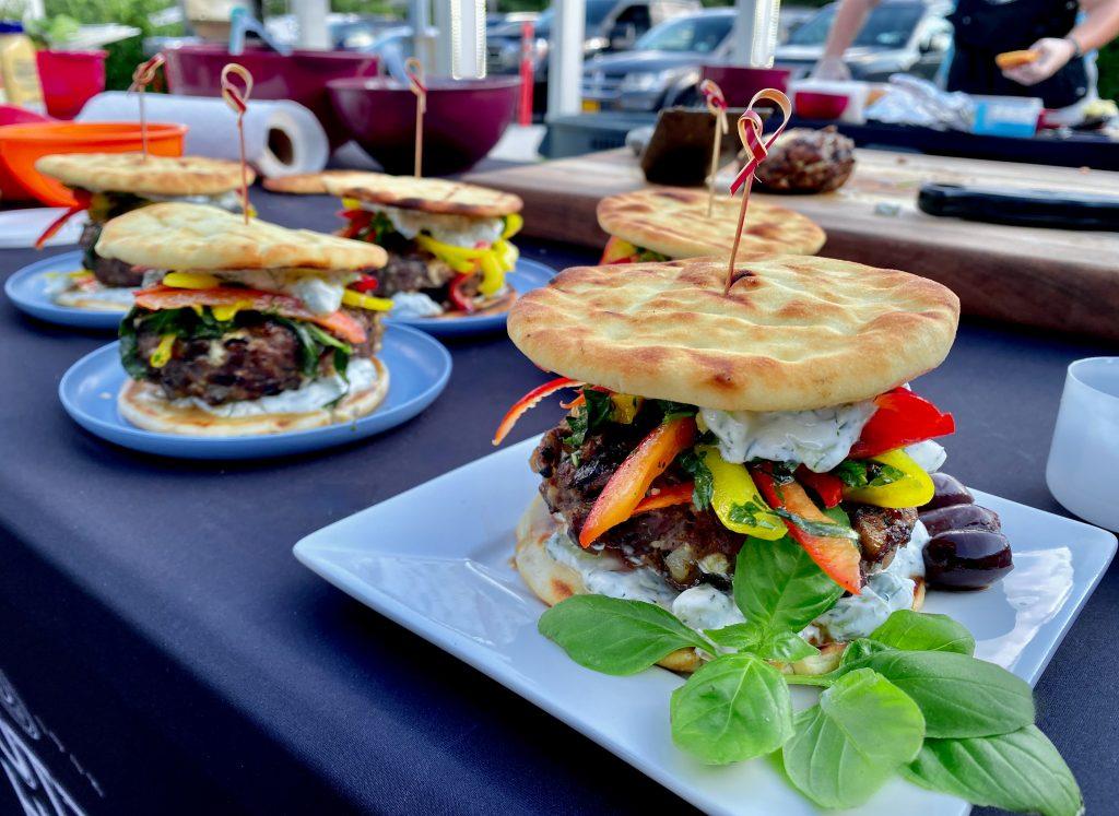 Mediterranean Lamb, Feta, And Olive Burgers With Two Pepper Slaw And Feta Tzatziki