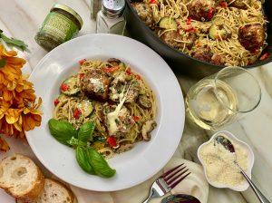 Pesto Palooza Shrimp And Pork Meatballs On Pasta With Pesto Cream Sauce